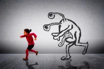 Little cute child running away from a monster