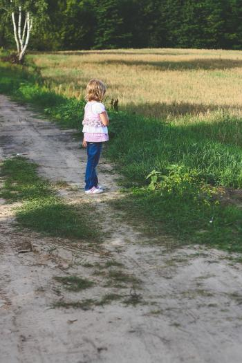 Little girl on path