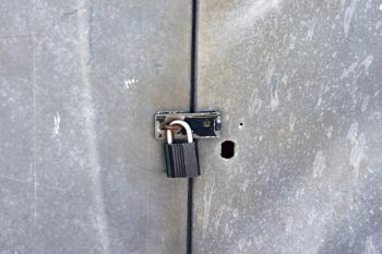 Locked metal door