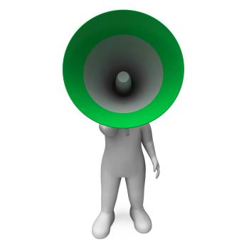 Loud Hailer Character Shows Broadcasting Explaining And Megaphone