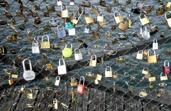 Love locks placed by tourists