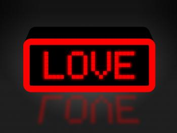 Love Neon Sign Shows Compassion Compassionate And Affection