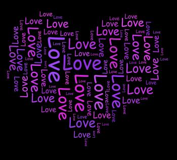 Love Words Shows Romance And Dating