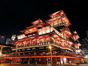 Low Angle Shot of Illuminated Building at Night