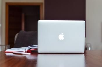 Macbook Air Near Red Book