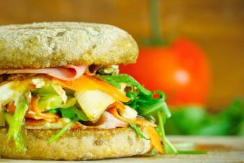 Macro Photography of Vegetable Filled Hamburger