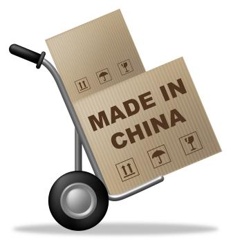 Made In China Shows Shipping Box And Asia