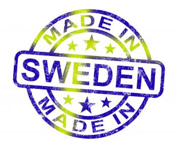 Made In Sweden Stamp Shows Swedish Product Or Produce