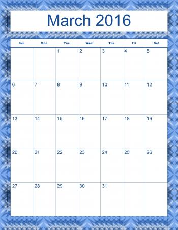 Madison's Peak March 2016 Calendar