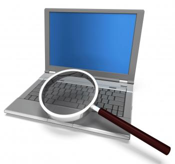 Magnifying Glass And Laptop Shows Search Searching And Research