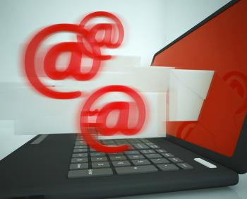 Mail Signs Leaving Laptop Showing Outgoing Messages