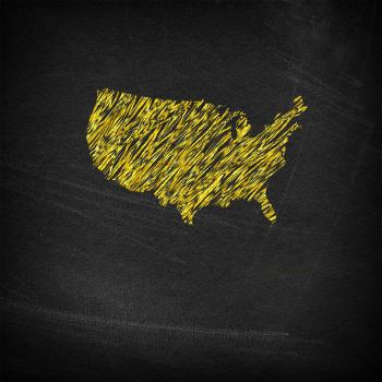 Main continental United States on chalkboard