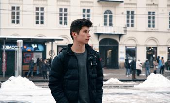 Man in Black Bubble Full-zip Jacket