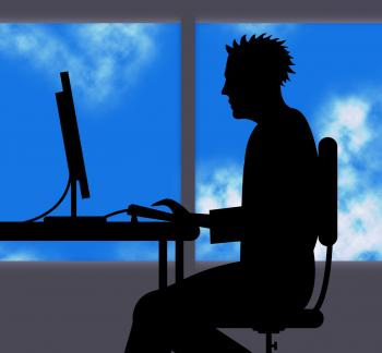 Man Working Online Indicates Web Site And Computer