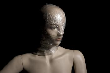 Mannequin with Plastic Over Head