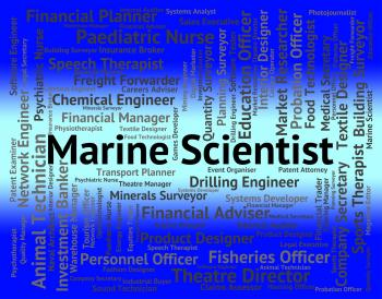 Marine Scientist Shows Ocean Text And Jobs