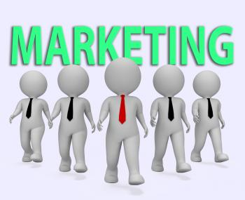 Marketing Businessmen Indicates Businessman Media And Promotions 3d Re
