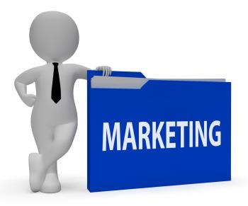 Marketing Folder Shows File Advertising 3d Rendering
