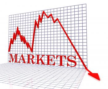 Markets Graph Negative Indicates Investments Down 3d Rendering
