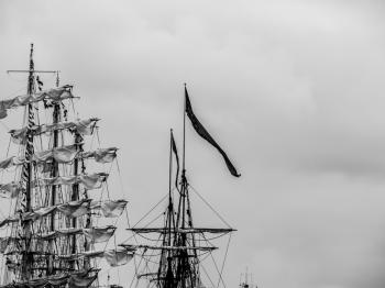 Masts with a huge flag