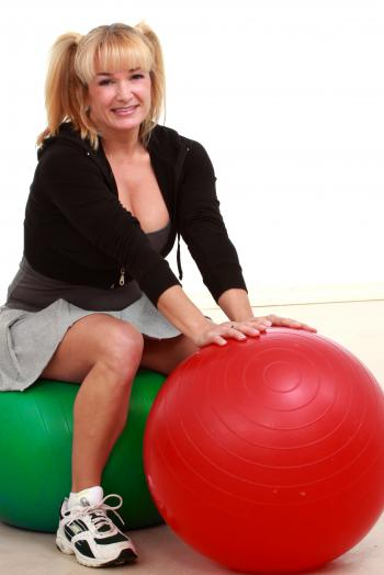 Mature woman with balls