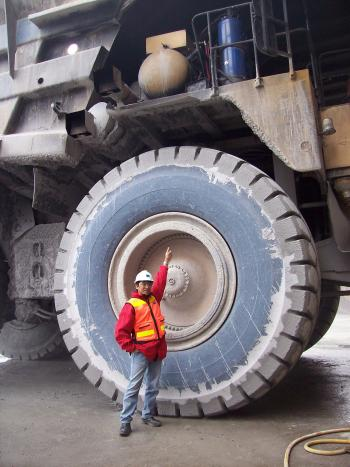 Me on the tire haul truck