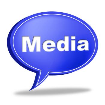 Media Speech Bubble Shows Promotional Promotion And Reduction