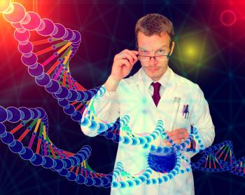 Medical Doctor Performing DNA Analysis and Sequencing - Illustration