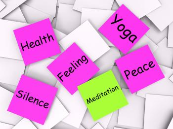 Meditation Post-It Note Means Meditate Relax And Peace