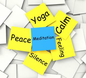 Meditation Post-It Note Shows Relaxation And Enlightenment