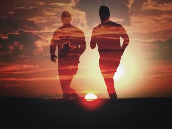 Men Running at Sunset - Double Exposure Effect