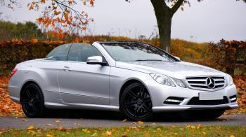 Mercedes Benz Silver Coupe Convertible