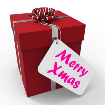 Merry Xmas Gift Means Happy Christmas Greetings