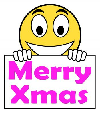 Merry Xmas On Sign Means Happy Christmas