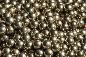 Metal balls close up