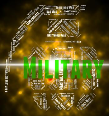 Military Word Indicates Wordcloud Soldierly And Warrior