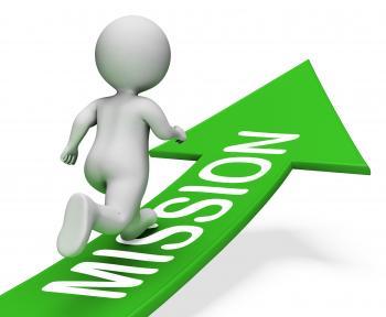 Mission Arrow Shows Motivation Goals 3d Rendering