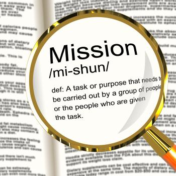 Mission Definition Magnifier Showing Task Goal Or Assignment To Be Don