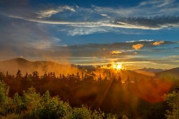Misty White Mountain Sunset - HDR