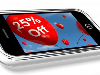Mobile With 25 Off Sale Promotion Balloons