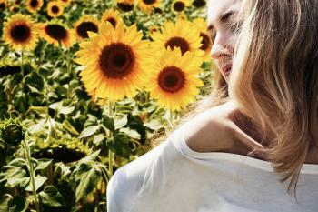 Model in the Sunflower Field