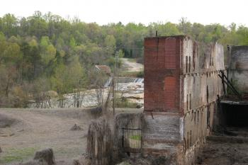 Modern ruins over looking a river