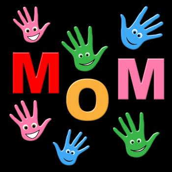 Mom Handprints Shows Painted Mommy And Creativity
