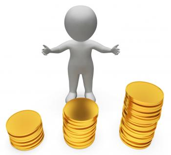 Money Coins Represents Investment Wealthy And Savings 3d Rendering
