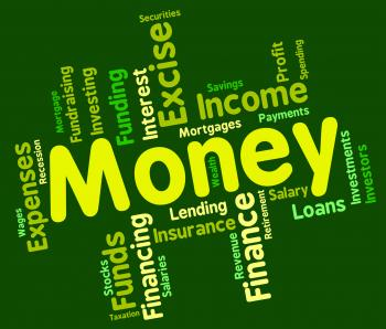 Money Word Represents Savings Words And Text