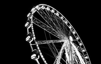 Monochrome Photography of Ferris Wheel