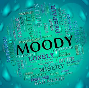 Moody Word Means Wordcloud Moping And Flighty