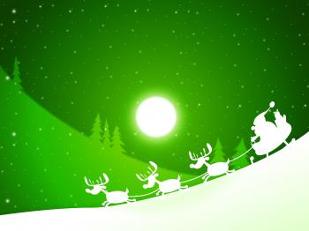 Moon Santa Indicates Merry Xmas And Celebrate