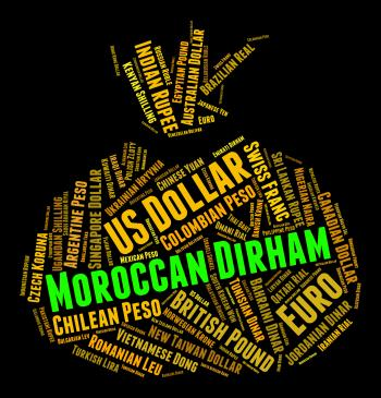 Moroccan Dirham Shows Morocco Dirhams And Currencies