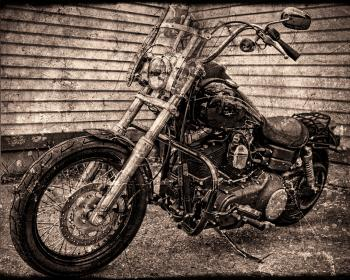 Motor cycle with old textured look
